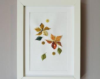 Orange + Yellow Embroidered Art