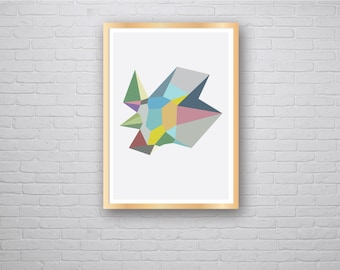 Paradise: Contemporary Modern Isometric 3D Geometric Graphic Design Art Poster