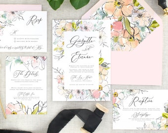 Watercolor Floral Wedding Invitation Suite Printed - Pink Floral Wedding Invitation Watercolor - Modern Wedding Invite and RSVP - Set of 10