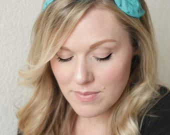 Aqua Retro Headband Hair Accessories Womens Headband Fabric Headband Adult Headband Gift For Her Scarf Headband Aqua Arrows