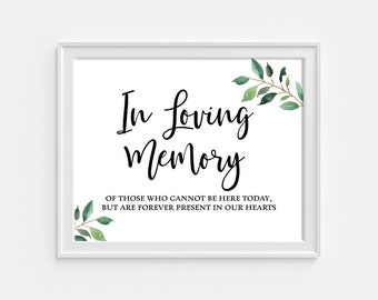 In Love Memory Printable Wedding Sign, Greenery Reception Party Signage, Calligraphy, 8x10, INSTANT PRINTABLE