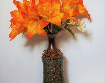 African Inspired Hand Beaded Glazed Vase With Coins And Bright Orange Fire Lily Flowers