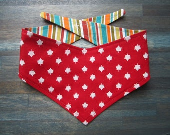 XS reversible tie on dog bandana - Canada Maple Leaf/stripes Kanine Kerchief