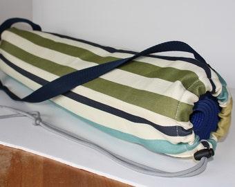 Green Striped Yoga Mat Bag
