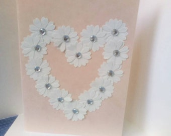 Pink card with white heart