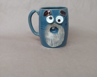 Blue Beard Mug. UgChug Face Mugs by Nelson Studio of Alabama. Gigantic 32 Ounce Pottery Cup. Large Beer Stein. Microwave Safe.