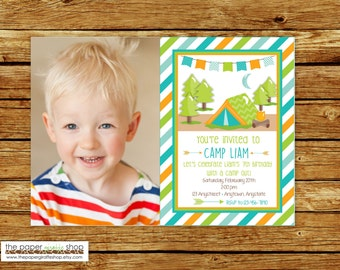 Camping Birthday Invitation with Photo | Blue Camping Invitation | Boys Camping Invitation | Glamping Party | Glamping Birthday