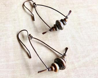 Copper Dangle Earrings - Medium Copper Earrings - Asian Look Earrings