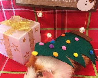 Christmas Guinea Pig Costume- Christmas Tree. Costume for Small Pet. Cute, Unique and Handmade Christmas Gift.