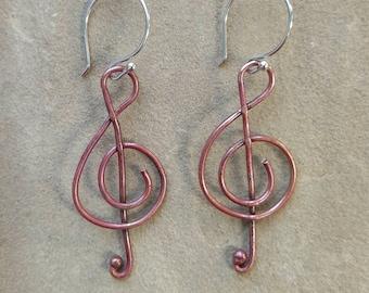 Copper Treble Clef Earrings