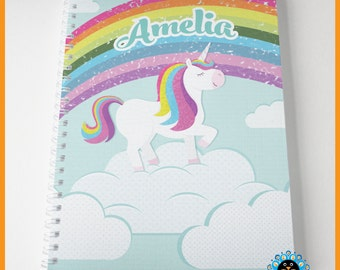 Unicorn notebook personalised with name. Perfect for children and adults. A5, cute, rainbow, unicorn illustration. Great gift idea.