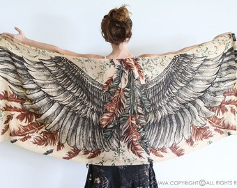 Girlfriend Gift, Feather Scarf, Anniversary Gift, Cotton Scarf, Wings Scarf, Autumn Scarf, Bohemian Scarf, Guardian Scarf, Brown Scarf