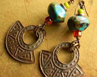 Artisan Earrings, Copper Metal Clay, Blue, Green, Lampwork Glass,