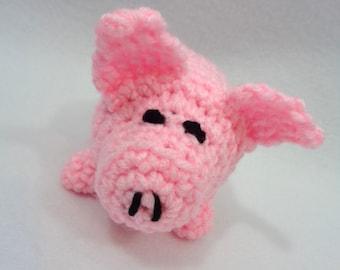 Pink Pig Crochet Animal, Stuffed Toy Pig, Little Piglet Pocket Pal, Amigurumi Crochet, Gift for Grandchild, Easter Basket Gift, Farm Animal
