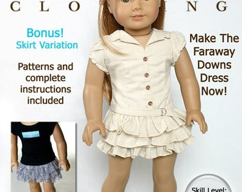 Pixie Faire Liberty Jane Faraway Downs Dress Doll Clothes Pattern for 18 inch American Girl Dolls - PDF