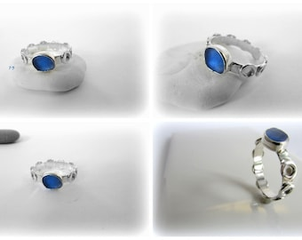 Sea glass jewelry. Sea glass ring. Seaglass ring. Sterling silver jewelry. Handmade Maine Jewelry. Artisan Silver Ring