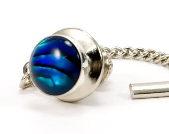 Blue Paua Sterling Silver Mens Tie Tack Gift For Dad Abalone Jewelry Gift For Men Wedding Party Gift For Groomsmen Mens Jewelry Fathers Day