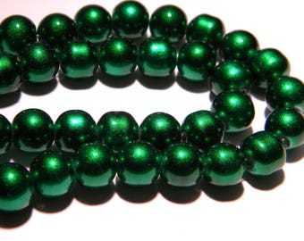 glossy glass Pearl - 8 mm Green heart - PG81 10 beads