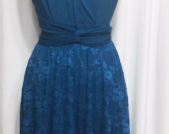 Tailored to Size & Length Infinity Dress  lace skirt in dark sea color  WITH TUBE TOP wrap dress Convertible/Infinity Dress
