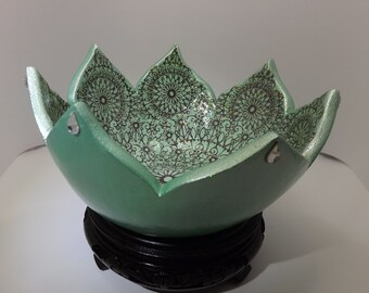 Green decoupage lotus bowl