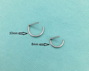 "16g Septum Ring ""D"" Shape Surgical Steel - 8mm, 10mm, 12mm  SEPTUM Rings"