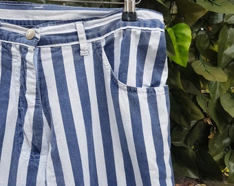 Vintage 80s Blue and White Stripe High Waisted Cotton Trousers