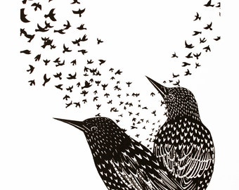 Starlings screen print, hand printed birds, limited edition print, black ink, 25 x 35cm