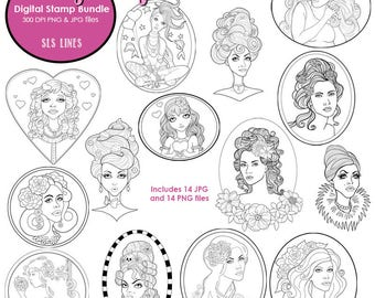 Pretty lady digital stamp bundle pack, portaits and poses, beautiful women digistamps by SLS Lines, adult coloring pages