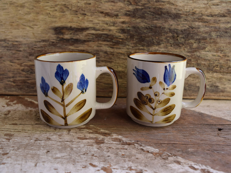 Blue Flower Mugs   Vintage Coffee Mugs   Pair Of Mugs   Set Of 2 Coffee  Mugs   Vintage Kitchen Drinkware   Brown Kitchenware Vintage Floral