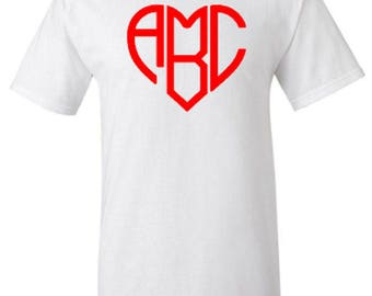 Personalized Heart Shaped Monogram Adult Unisex Tshirt
