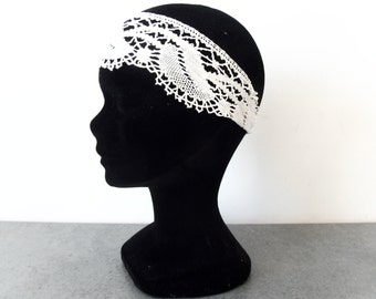 Marriage in ancient Ecru lace headband