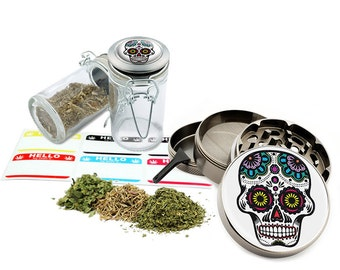 "Sugar Skull - 2.5"" Zinc Alloy Grinder & 75ml Locking Top Glass Jar Combo Gift Set Item # G021615-037"