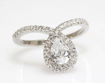 Pear Diamond Engagement Ring, Unique Pear Diamond Engagement Ring, Pear Diamond Ring, 0.85 Carat Diamond Ring, Silly Shiny Diamonds 'Bliss'