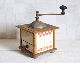 Peugeot Antique French Red Coffee Grinder 1930's    Vintage French Wood Coffee Grinder - Rustic & Shabby Chic