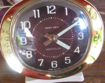 Vintage Westclock Windup Alarm Clock 1960's Retro Time Piece Rockabilly Mid Century Industrial