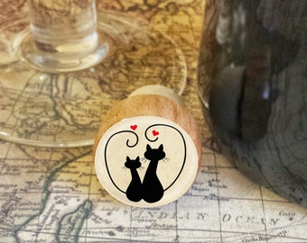 CAT Wine Stopper, Handmade Silhouette Cats Wood Cork, Cat Lover Bottle Stopper,  Kitten and Hearts Wood Cork Stopper, Holiday Gift, Style 1
