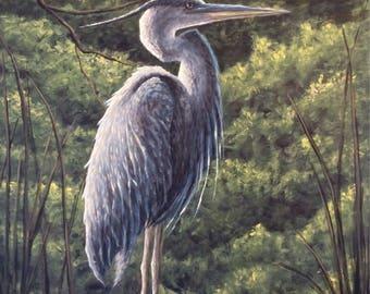 Blue Heron Acrylic Painting SunscapesArt Original Art Blue Heron Painting