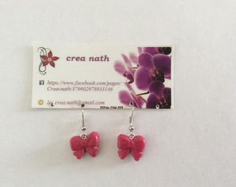 Pink polymer clay knot earring