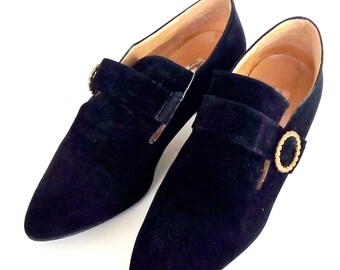 Pair black suede shoes vintage 60s Made in Italy No 39 (Italian)