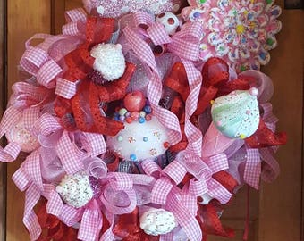 43 inch candy lane wreath gingham pinks ready to ship