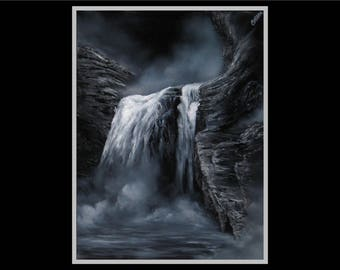 "18x24"" Original Oil Painting - Dark Black and White Waterfall Wall Art"