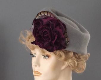 """Gray felt hat, gray toque, purple wine velvet flower, pheasant feather, large size, 23"""", tilt hat, vintage inspired, women winter hat church"""