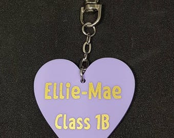 Personalised School Bag Tag Keyring,Heart Shaped, Zipper Pull, Back to School.