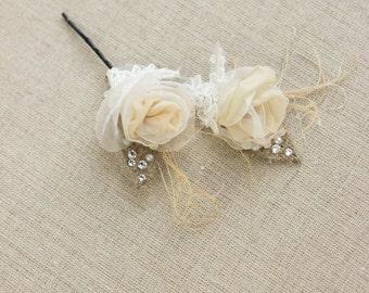 Burlap hair piece, Bridal hair pins, Bridal hair Flowers, Wedding hair pin, Small hair pins, set, Wedding hair piece, Flower hair pins