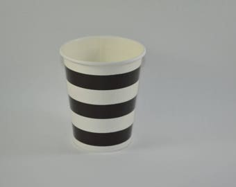8 cups black striped cardboard