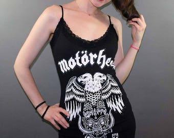 Motorhead Black Lace Rock Slip Dress Lemmy Band Merch tshirt Judas Priest Iron Maiden Black Sabbath Biker Metal Goth
