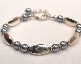Silver & Gray Bracelet, Vintage Silver Metal Bead Bracelet, Grey Pearl Bracelet, Versatile Bracelet, Grey Bracelet, Silver Bracelet (B101)