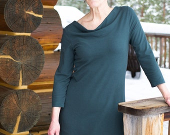 Organic Handmade Clothing - Lupine Cowl Tunic Dress
