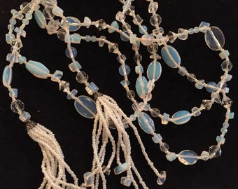 Crystal and moonstone Necklace/ Lariat