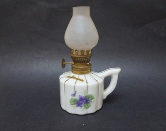 Vintage mini Lantern Kerosene lamp porcelain rose flower print floral Made in Liechtenstein Candle holder Retro burner metal glass tiny old